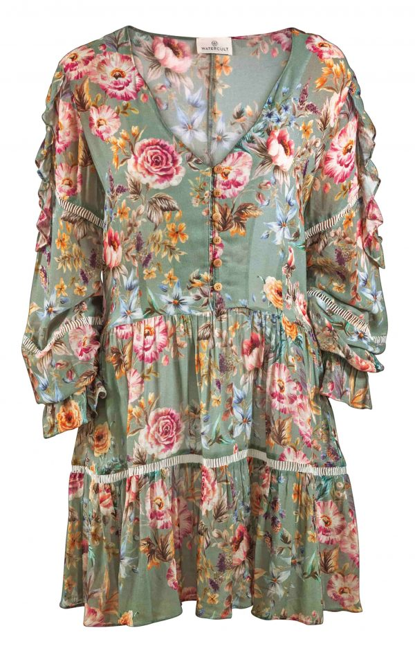 close up of Watercult Boho Blossom Dress in Vintage Garden