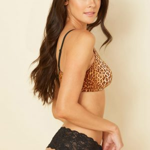 wearing the Cosabella Evolution Curvy Bralette in Leopard with comfie thong