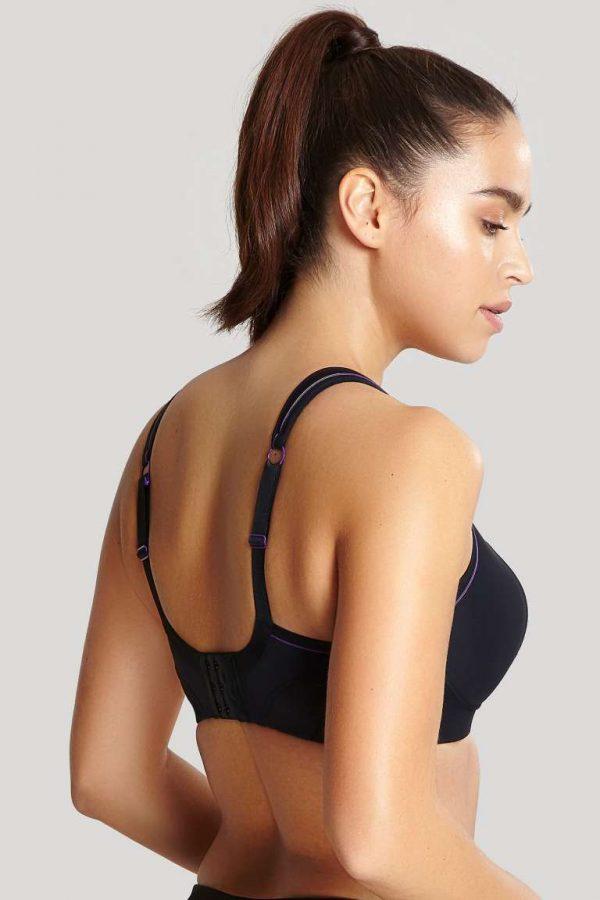 back view of Panache Non Wired Sports Bra in Black