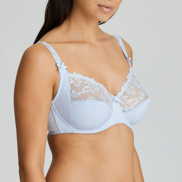 side view of PrimaDonna Deauville Full Cup Bra in Heather Blue