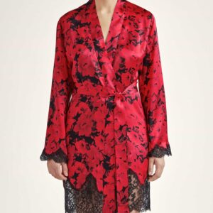 buy the Aubade Toi Mon Amour Silk Robe in opera red