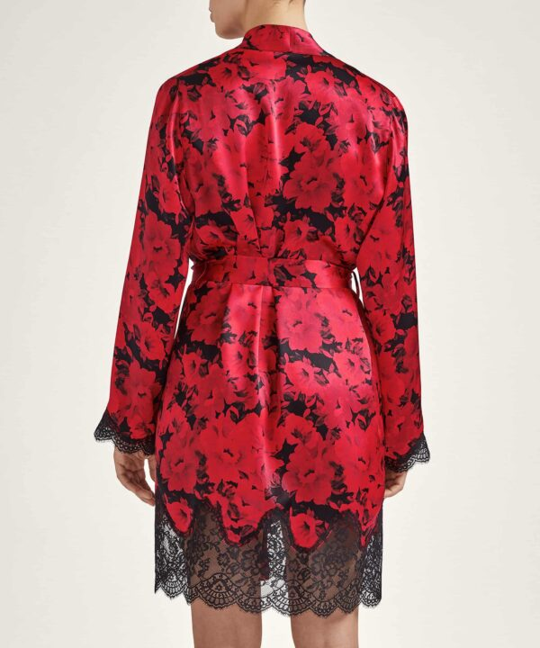 back view of Aubade Toi Mon Amour Silk Robe in opera red