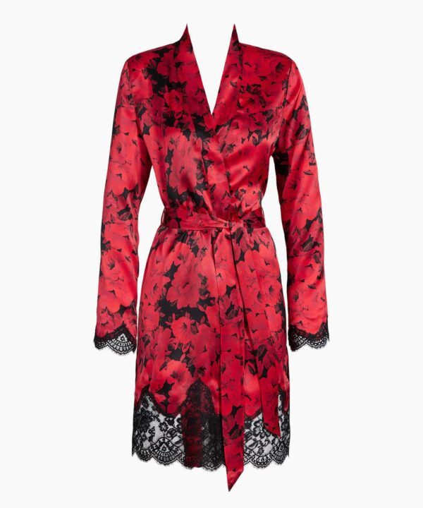 cutout of Aubade Toi Mon Amour Silk Robe in opera red