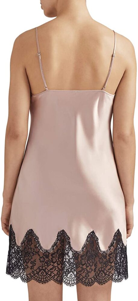 back view of Aubade Toi Mon Amour Silk Chemise in Sonate Rose