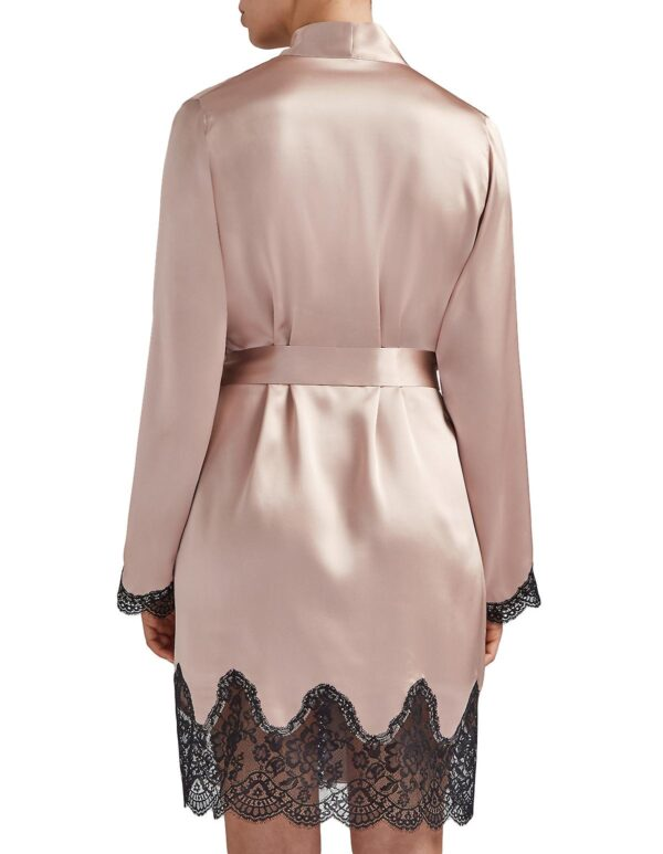 back view of Aubade Toi Mon Amour Silk Robe in Sonate Rose