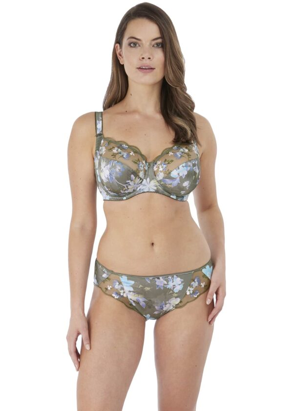wearing the Fantasie Emmie Brief in Evergreen with full cup bra