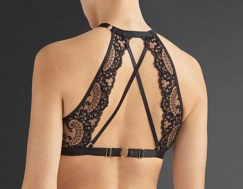back view of Aubade La Reine de la Nuit Sexy Bra in Black