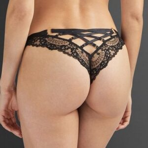 back view of Aubade La Reine de la Nuit Tanga in black