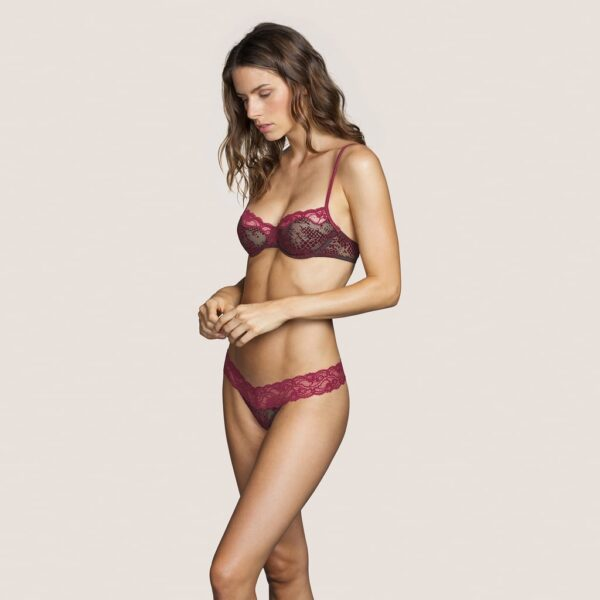 wearing the Andres Sarda Mamba Balcony Bra in Red Boudoir with thong