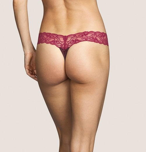 back view of Andres Sarda Mamba Thong in Red Boudoir