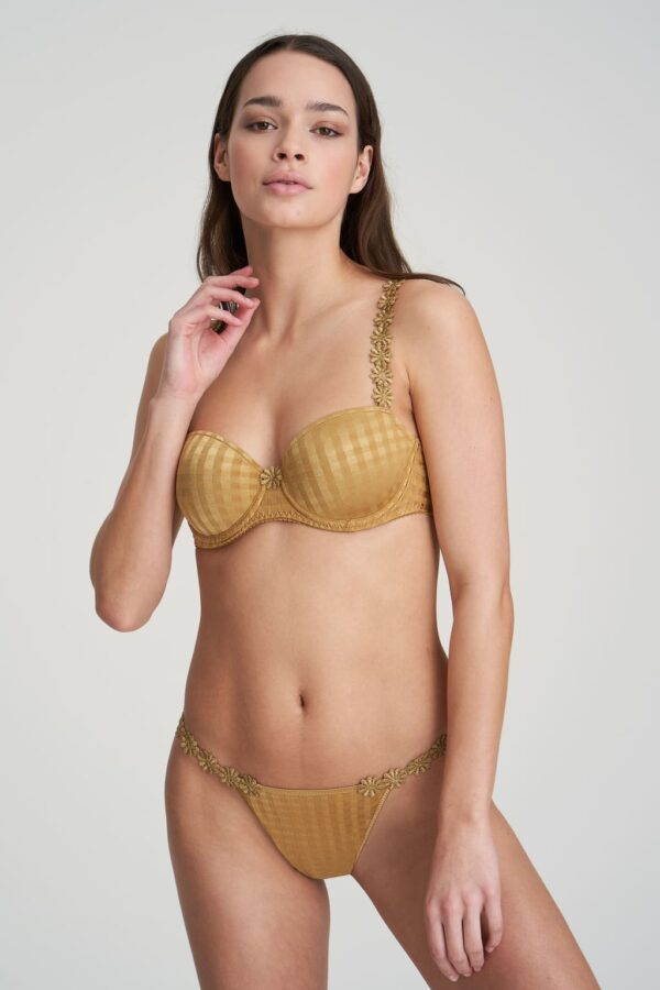 wearing the Marie Jo Avero Padded Balcony in Gold with thong