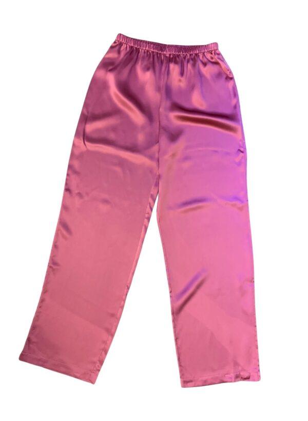 back view of Luna di Seta Silk Pajamas in Camellia