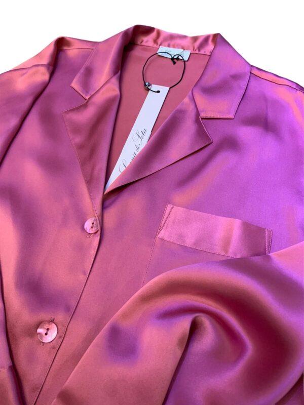 close up of Luna di Seta Silk Pajamas in Camellia