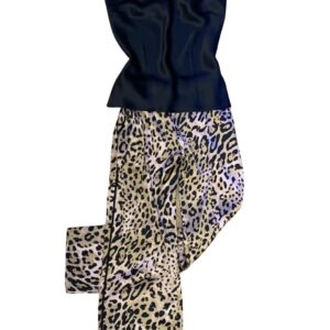 buy the Marjolaine Louve Silk Pajamas in Leopard