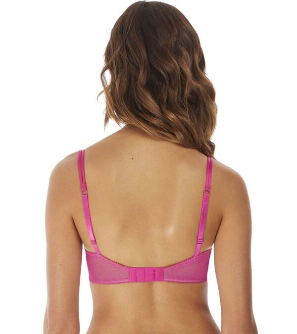 back view of b.tempt'd Ciao Bella Balcony Bra in Pink Yarrow