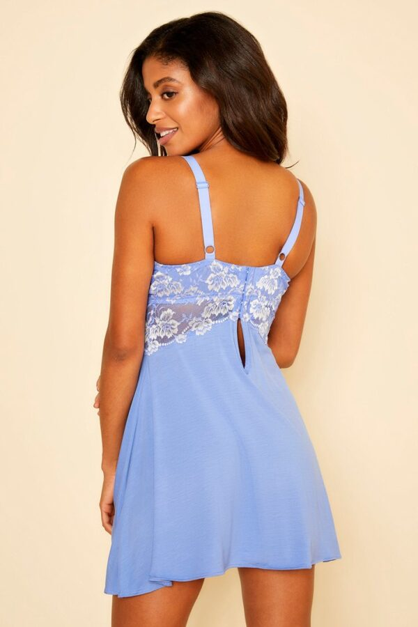 back view of Cosabella Savona Curvy Chemise in Cielo Canvas