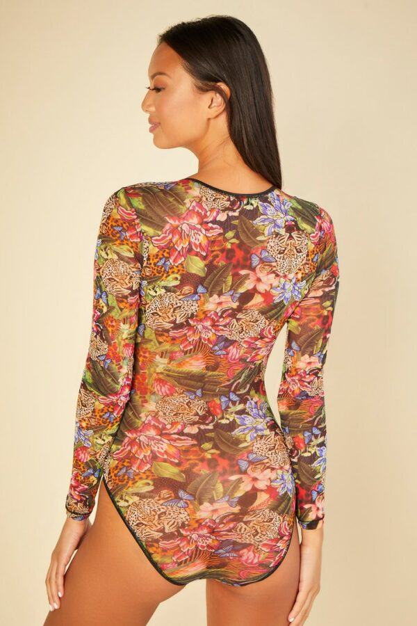 back view of Cosabella Soire Confidence Bodysuit in Tropical