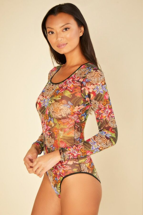 side view of Cosabella Soire Confidence Bodysuit in Tropical