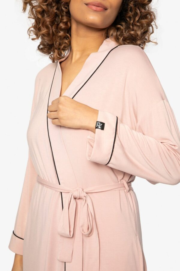 close up of Pretty You London Bamboo Kimono in Pink