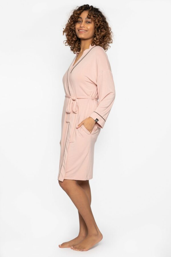side view of Pretty You London Bamboo Kimono in Pink