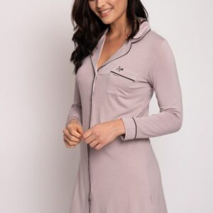 side view of Pretty You London Bamboo Nightshirt in Oyster