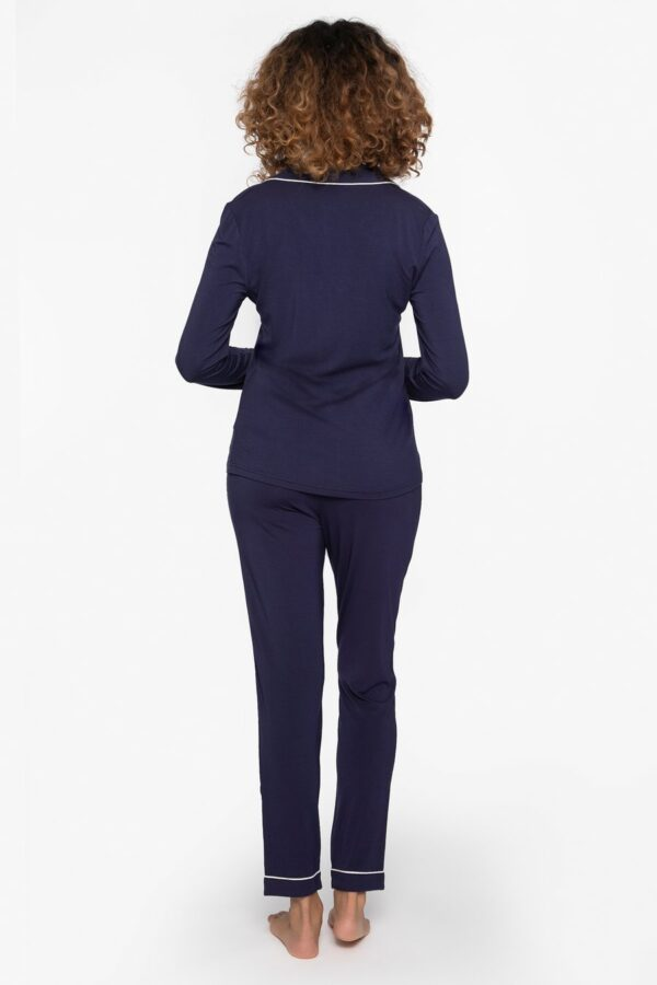 back view of Pretty You London Bamboo Pyjamas in Midnight