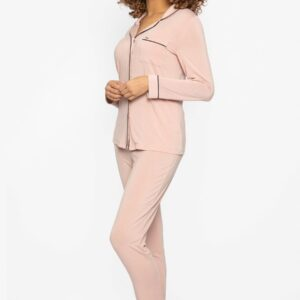 side view of Pretty You London Bamboo Pyjamas in Pink