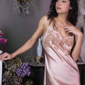 buy the Marjolaine Nina Silk Chemise in Boudoir/Nude