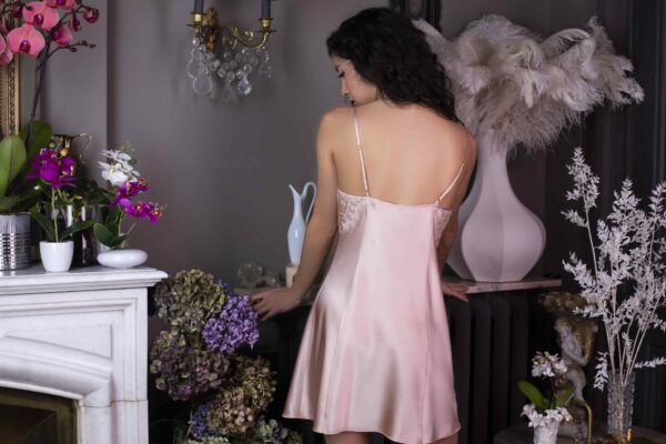 back view of Marjolaine Nina Silk Chemise in Boudoir/Nude