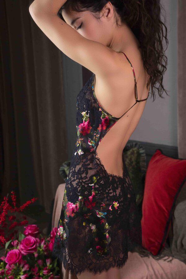 side view of Marjolaine Noor Silk Chemise in Flower Print