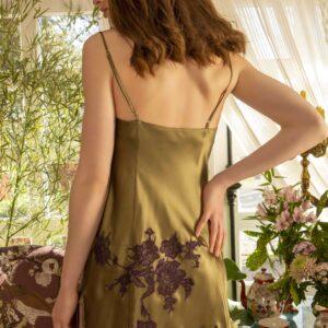 back view of Marjolaine Nymphe Silk Chemise in Kaki/Violet