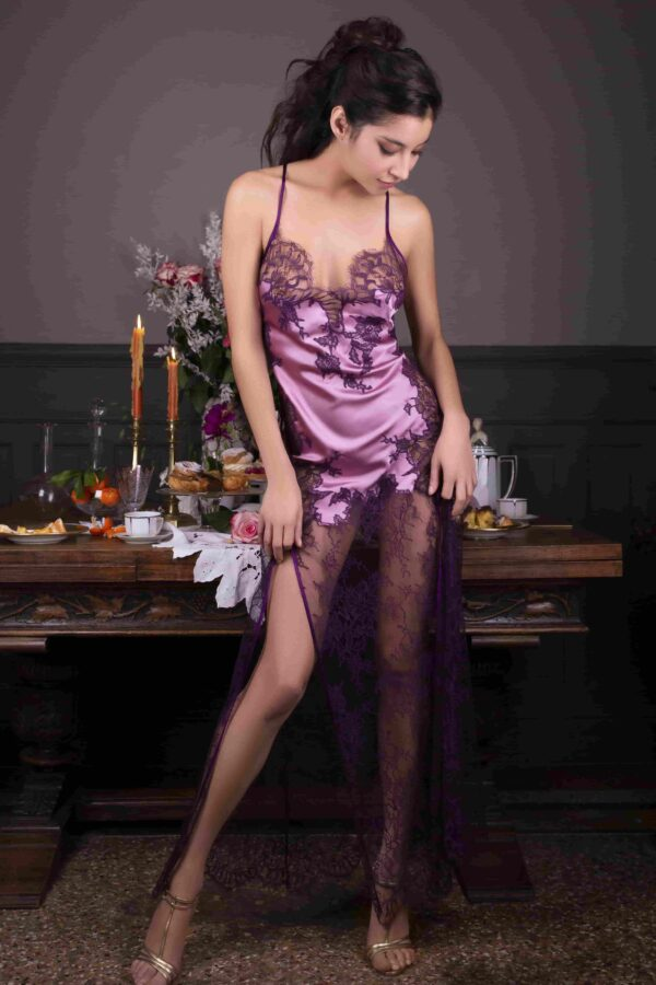 buy the Marjolaine Nymphe Long Silk Nightdress in Pink/Violet