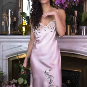 buy the Marjolaine Long Silk Nightdress in Pink/Pearl