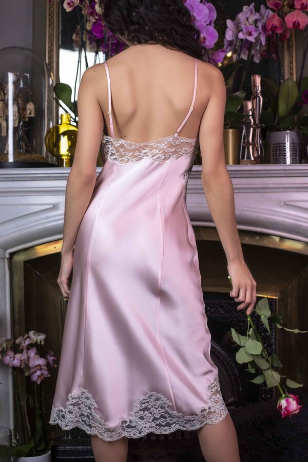 back view of Marjolaine Long Silk Nightdress in Pink/Pearl