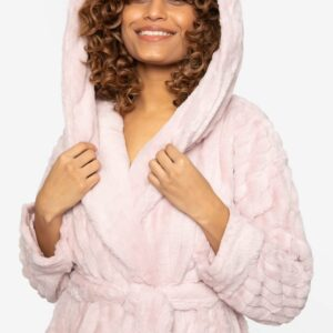 close up of Pretty You London Cloud Robe in Pink