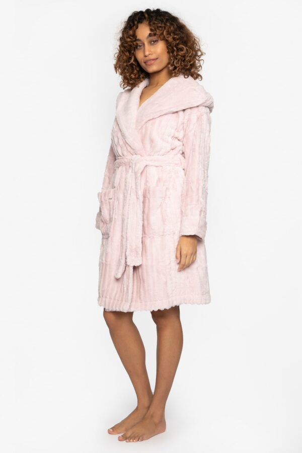 side view of Pretty You London Cloud Robe in Pink