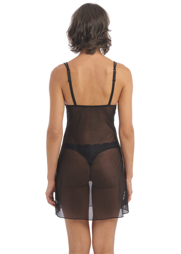back view of Wacoal Instant Icon Chemise in Black Eclipse