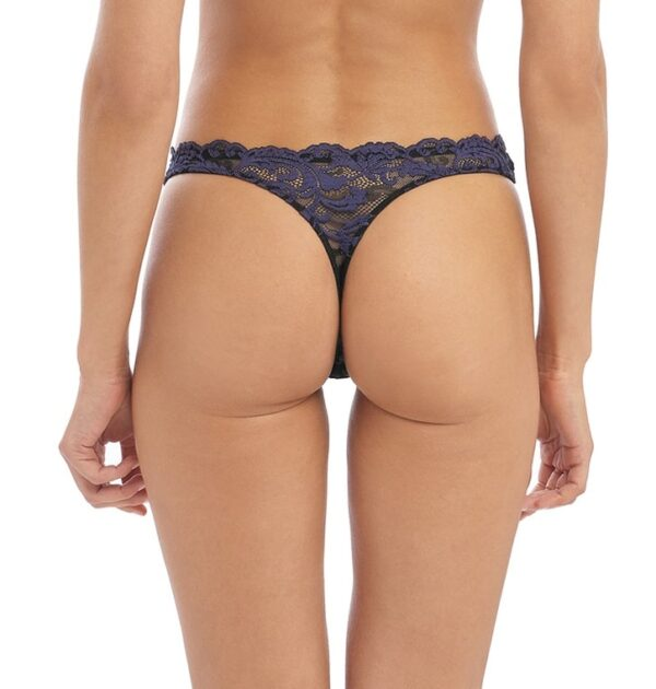 back view of Wacoal Instant Icon Thong in Black Eclipse